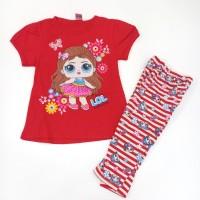 Setelan Anak Katun Legging Salur/ Hitam Lucu motif LOL/Minnie/