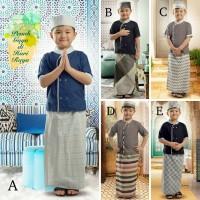 Sarkoci baju muslim anak SET ECERAN baju lebaran koko sarung peci