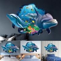 Stiker Dinding Desain Ikan Lumba-Lumba Underwater 3D untuk Dekorasi