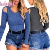 Sweater Rajut Wanita Off Shoulder Sabrina Lengan Panjang Warna Polos