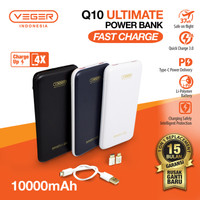 POWER BANK VEGER ULTIMATE Q10 10000MAH QUICK CHARGE 3.0 FAST CHARGING