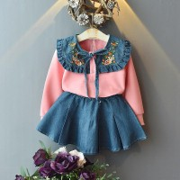 Setelan Sweater Kaos Lengan Panjang Motif Bordir Bunga + Rok Denim