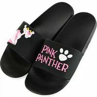 Sandal slop karakter pink panther hitam / sandal wanita/sandal cantik