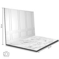 Alas Foto Lipat Dinding Putih & Marmer / Background Foto Produk(BL-09)