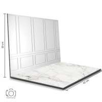 Alas Foto Lipat Dinding Putih & Marmer/ Background Foto Produk (BL-04)