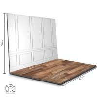 Alas Foto Lipat Dinding Putih & Kayu / Background Foto Produk (BL-10)