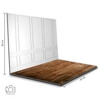 Alas Foto Lipat Dinding Putih & Kayu Coklat / Background Foto (BL-08)