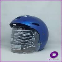Helm Murah Half Face Dewasa Kaca Clear Cen cen Pet ACN Biru Polos SNI