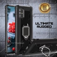 SAMSUNG GALAXY A71 A715 CASE ULTIMATE RUGGED RING SOFT ARMOR CARBON PC