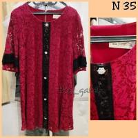 N35 Baju Dress Merah Brokat Kombinasi Hitam Bagus Murah