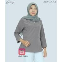 Baju Kantor Wanita - Kemeja Kerja Wanita - Blouse Polos - Baju Muslim - Grey
