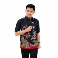 Hem Batik - Kemeja Lengan Pendek - Kipas Merah