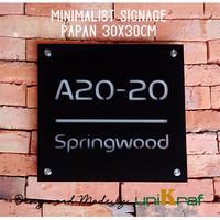 Papan Alamat & Nomor Rumah Modern Minimalis - Acrilic / Square Besar