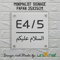Papan Nomor Rumah Modern Minimalis Assalamualaikum - Acrilic / Square