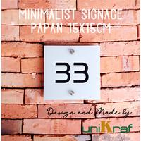 Papan Nomor Rumah Modern Minimalis - Acrilic / Square