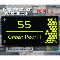Papan Alamat Nomor Rumah Eksklusif - Acrilic / Persegi – Fluorescent