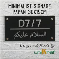 Papan Nomor Rumah Modern Minimalis Assalamualaikum - Acrilic / Persegi
