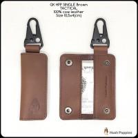 gantungan kunci hushpuppies single brown tactical asli kulit sapi