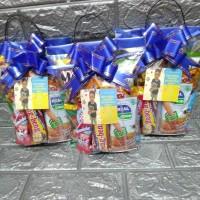 paket souvenir ulang tahun Snack packing plastik pita