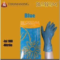 Sarung tangan blossom Nitrile isi 100 warna biru