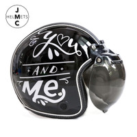 Helm Bogo Retro JMC Motif You and Me Hitam SNI