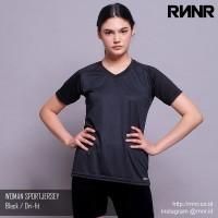 Baju olahraga Wanita / Kaos GYM/YOGA/lari DRIFITwarna HITAM