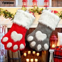 Yuata Kaos Kaki Gantung Motif Paw untuk Dekorasi Pohon Natal