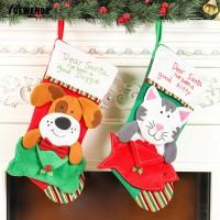 Yuata Kaos Kaki Gantung Motif Kucing untuk Dekorasi Pohon Natal