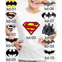 Kaos Baju tshirt anak Custom logo Batman dan Superman