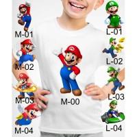Kaos Baju tshirt anak Custom Super mario dan luigi