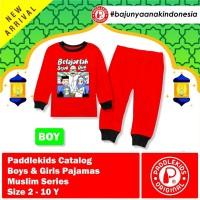 1 2 3 4 5 6 7 8 tahun baju pajamas setelan anak muslim unisex merah