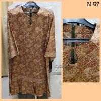 N57 Baju Dress Batik Keris Coklat Muda Bagus Murah
