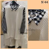 N44 Baju Dress Tunik Putih Mix Kotak Kotak Hitam Bagus Murah