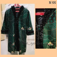 N55 Baju Dress Batik Hijau Mix Hitam Bagus Murah