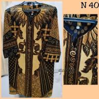 N40 Baju Dress Batik Coklat Kuning Kombi Coklat Bagus Murah