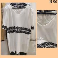 N56 Baju Dress Putih Bordir HItam Merk Elle Bagus Murah