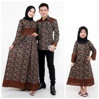 Couple gamis batik Ayah ibu dan anak perempuan baju keluarga