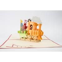Train with Monkey - 3D Gift Card Haiku Kartu Ucapan Celebration Party