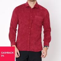 Kemeja Polos Tangan Panjang Pria Merah Corduroy M-XXL (2002.770.1) - M