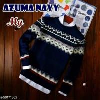 Sweater Rajut Pria - Azuma Navy Navy blue
