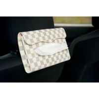 TECHNOZIO Tempat Tissue Backseat Mobil Motif Skak Cream
