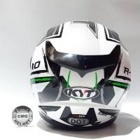 Jual HELM KYT R10 MOTIF 2 WHITE BLACK GREEN FLUO Limited