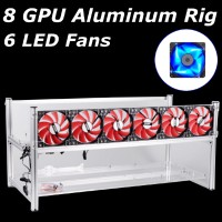 8 GPU Mining Rig Aluminum Stackable Frame untuk ETH / zec / Bitcoin