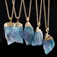 Kalung Rantai Liontin Batu Amethyst Natural Lapis Emas untuk Wanita