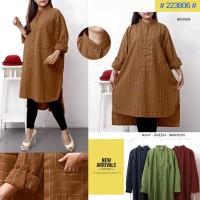 Tunik Katun Linen Bigsize Fit To XXXL Kode 223806
