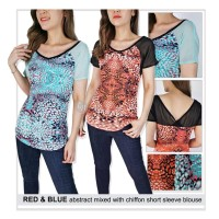 Blouse Branded- 26455- 23ae-exp-mr- red abstract mixed with chiffon