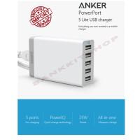 Anker Powerport 5 Lite 25W 5 Port USB Charger Fast Charging ORIGINAL