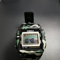 jam tangan digital loreng segi army water resist VISICA model casio