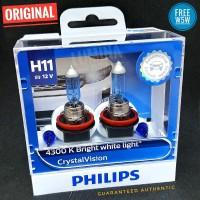 Philips Crystal Vision H11 55W - Lampu Mobil Putih 4300K + Lampu Senja
