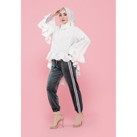 Hijab Ellysha SHINNY PLEATED LISTED JOGGER PANTS OLIVE